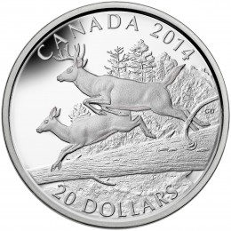 2014 Canadian $20 The White-tailed Deer: Mates - 1 oz Fine Silver Coin