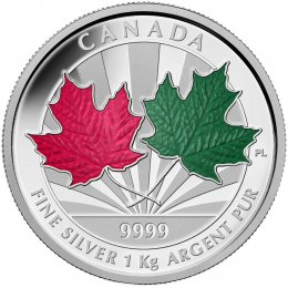 2014 Canadian $250 Maple Leaf Forever Fine Silver Enameled Kilo Coin