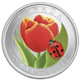 2011 Canada 25 Cent Coin - Tulip with Ladybug