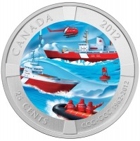 2012 25 Cent Coin - 50th Anniversary of the Canadian Coast Guard