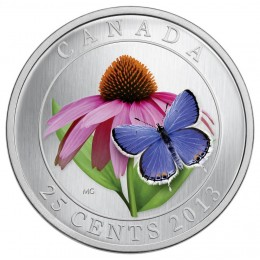 2013 Canada 25 Cent Coin - Purple Coneflower and Eastern Tailed Blue Butterfly