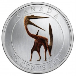 2013 Canadian 25-Cent Prehistoric Animals: Quetzalcoatlus - Coloured Coin (Glow-in-the-Dark)