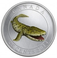 2014 25 Cent Coin - Prehistoric Creatures: Tiktaalik (Glow-in-the-Dark)
