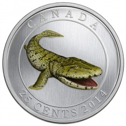 2014 Canadian 25-Cent Tiktaalik Coloured Coin (Glow-in-the-Dark)
