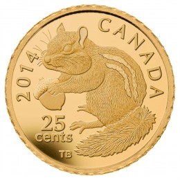 2014 Canada Pure Gold 25 Cent Coin - Chipmunk
