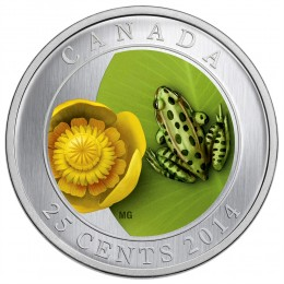 2014 Canada 25 Cent Coin - Water-Lily And Leopard Frog