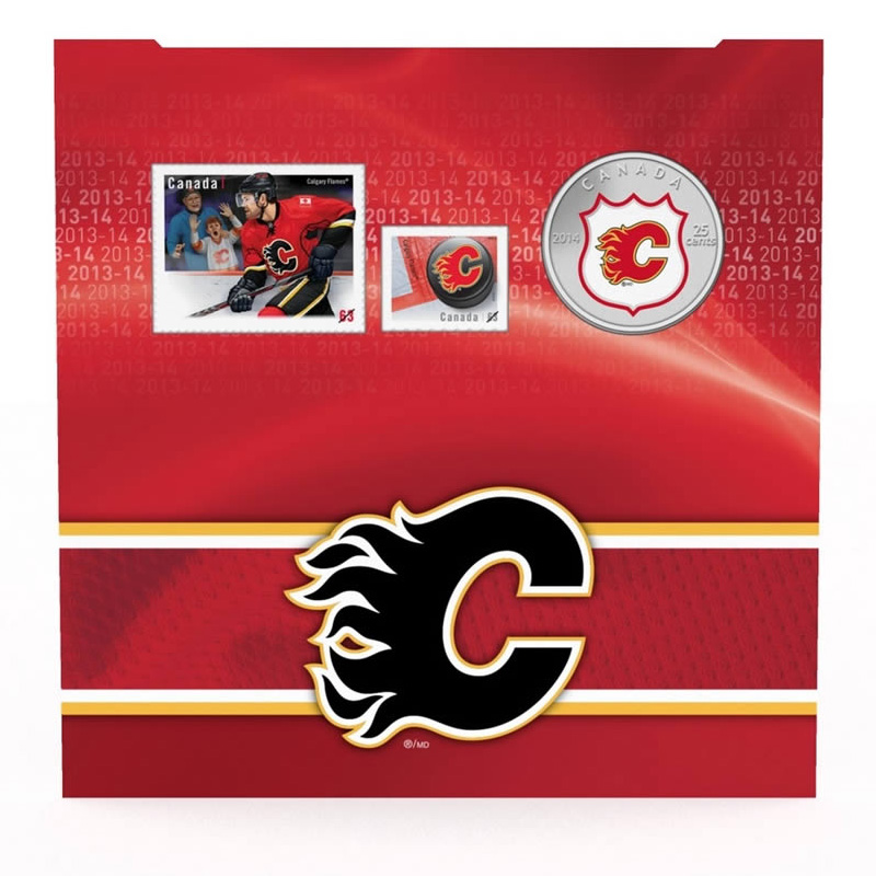 2014 Canadian 25 Cent Calgary Flames Nhl 174 Coin Amp Stamp Gift Set