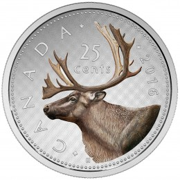 2016 Canadian 25-Cent Big Coin Series: Caribou 5-ounce Fine Silver Coloured Quarter Coin