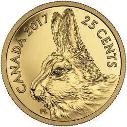 2017 Canadian 25-Cent Predator vs Prey Series: Traditional Arctic Hare - 0.5g Pure Gold Coin
