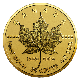 2019 (1979-) Canadian 25-Cent Gold Maple Leaf 40th Anniv 0.5 g Pure Gold Coin