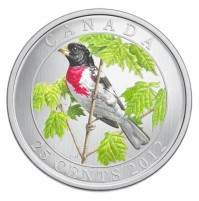 2012 25 Cent Coin - Rose-Breasted Grosbeak