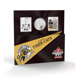 2012 Canada CFL® 25 Cent Coloured Coin & Stamp Set - Hamilton Tiger-Cats
