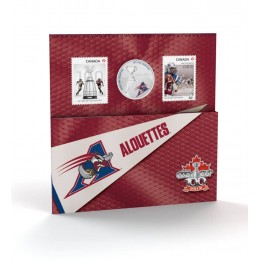 2012 Canada CFL® 25 Cent Coloured Coin & Stamp Set - Montréal Alouettes
