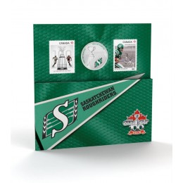 2012 Canada CFL® 25 Cent Coloured Coin & Stamp Set - Saskatchewan Roughriders