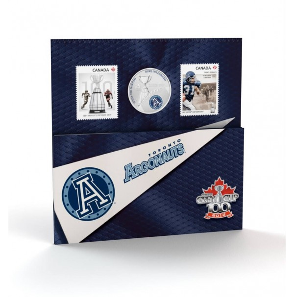 2012 25 Cent Coloured Coin & Stamp Set - Toronto Argonauts