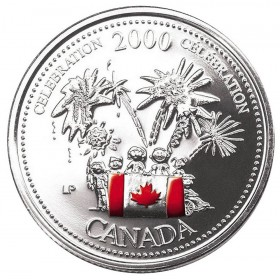 2000 Canadian 25 Cent Canada Day Coin Gift Card (Coloured)