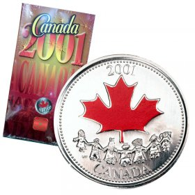 2001-P Canadian 25-Cent Spirit of Canada Coloured Quarter Coin & Gift Card