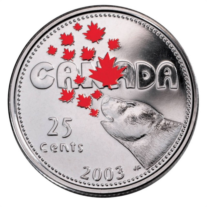 Sealed from RCM 2000 Twenty Five Cents Celebration Coloured Canada Quarter