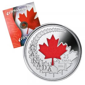 2004-P Canadian 25-Cent Canada Day Celebration Coloured Quarter Coin & Gift Card