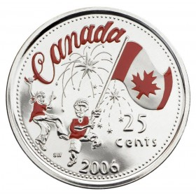 2006 Canada 25 Cent Coin - Canada Day (Coloured)