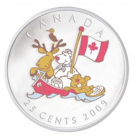 2009 Canada 25 Cent Coin - Canada Day (Coloured)