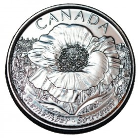 2015 Canadian 25-Cent Remembrance Poppy Non-coloured Quarter Coin (Brilliant Uncirculated)
