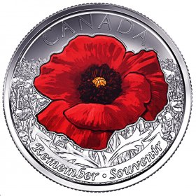 2015 Canadian 25-Cent Remembrance Poppy Coloured Quarter Coin (brilliant uncirculated)