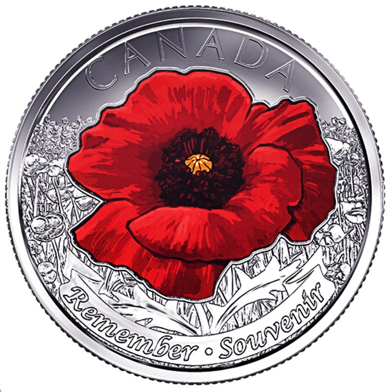 Canada  2015 Remembrance Day WWII Poppy Coloured 25 Cent Coin.Beautiful Coin!
