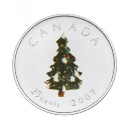 2007 Canadian 25-Cent Christmas Tree Coloured Quarter Coin (Brilliant Uncirculated)