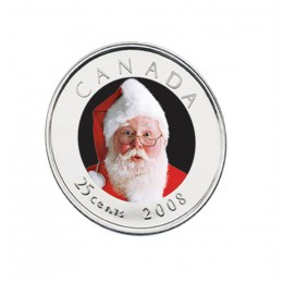 2008 Canadian 25-Cent Santa Claus Coloured Quarter Coin (Brilliant Uncirculated)