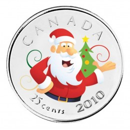 2010 Canada 25 Cent Santa Claus Coloured (Brilliant Uncirculated)