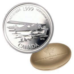 1999 Canadian 25-Cent November: The Airplane Opens the North Millennium Quarter Proof Silver Coin