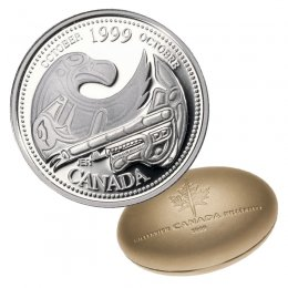 1999 Canadian 25-Cent October: A Tribute to the First Nations Millennium Quarter Proof Silver Coin
