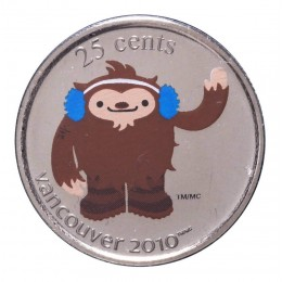 2008 Canada 25 Cent Vancouver 2010 Olympic Mascot Coin - Quatchi