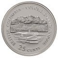 1992 (1867-) Canadian 25-Cent British Columbia Confederation 125th Anniv/Provincial Quarter Proof Sterling Silver Coin