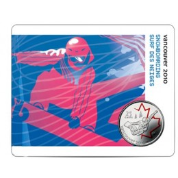 2008 Canada 25 Cent Vancouver 2010 Olympic Sports Card - Snowboarding