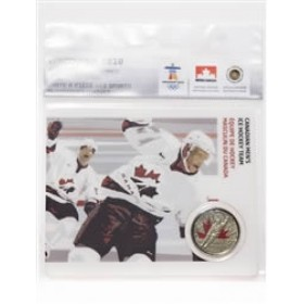 2009 Canada 25 Cents Vancouver 2010 Olympic Sports Card - Men's Hockey Team