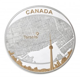 2011 Canadian $25 Toronto City Map 2 oz Fine Silver & Gold-plated Coin