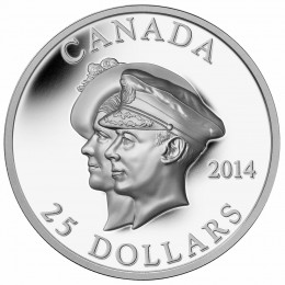 2014 Canadian $25 75th Anniversary of the First Royal Visit - Fine Silver Coin (Ultra-High Relief)