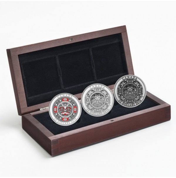 2015 Fine Silver 25 Dollar Coin - Singing Moon Mask 3-Coin Set