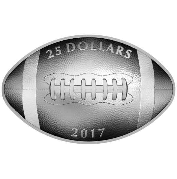 2017 Canada Fine Silver 25 Dollar Coin - Football-Shaped and Curved Coin