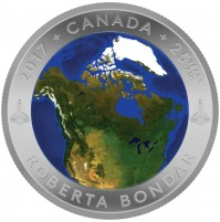 2017 Canada Fine Silver 25 Dollar Coin - A View of Canada From Space