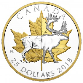 2018 Canadian $25 Timeless Icons: Caribou - 1 oz Fine Silver & Gold-plated Coin