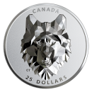 2019 Canadian $25 Multifaceted Animal Head: Wolf - 1 oz Fine Silver Extraordinarily-High Relief Coin