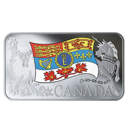 2019 Canadian $25 Her Majesty Queen Elizabeth II's Personal Canadian Flag - 1.5 oz Fine Silver Coloured Coin