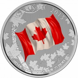 2015 Canadian $25 for $25 National Flag 50th Anniv Fine Silver Coloured Commemorative Coin