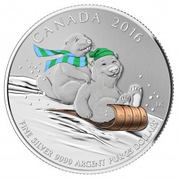 2016 Canadian $25 for $25 Winter Fun Fine Silver Coloured Coin