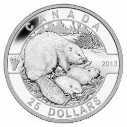2013 Canadian $25 O Canada Series: The Beaver - 1 oz Fine Silver Coin