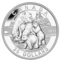 2013 Fine Silver 25 Dollar Coin - O Canada Series: The Polar Bear