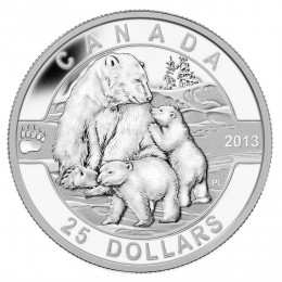 2013 Canadian $25 O Canada Series: The Polar Bear - 1 oz Fine Silver Coin